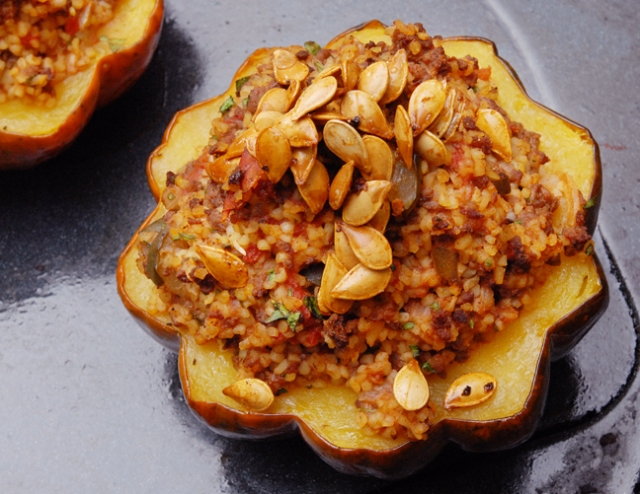 Acorn squash stuffed with venison
