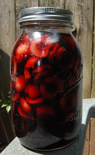 Liquor soaked cherries packed in homemade cherry liqour