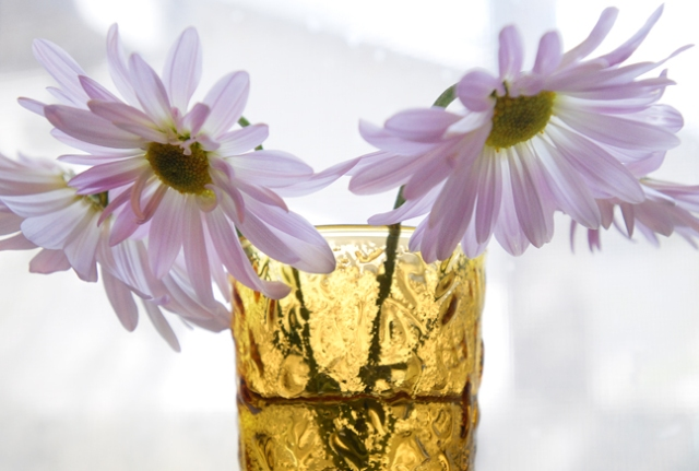 Wild flowers in a fancy glass