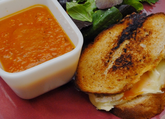 There are tomatoes in the sandwich but none in the roasted pepper soup