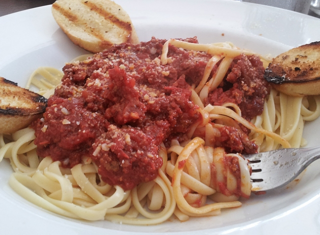Spaghetti with meat sauce from Ira's